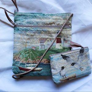 Vtg Beach Ocean Themes Shoulder Bag w Change Purse